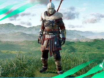 armadura griega bizantina assassins creed valhalla ira druidas casco pechera brazaletes pantalones capa lanza