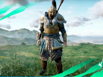 armadura lider dublines assassins creed valhalla ira druidas casco pechera brazaletes pantalones capa